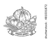 farmers market badge.... | Shutterstock .eps vector #481031872