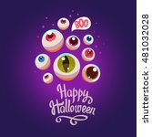 halloween composition. funny... | Shutterstock .eps vector #481032028