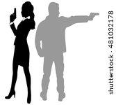 woman and man aiming gun   Shutterstock .eps vector #481032178