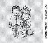 bridal couple java. cartoon... | Shutterstock .eps vector #481036222