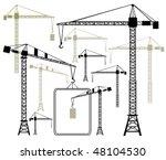 vector cranes silhouettes | Shutterstock .eps vector #48104530