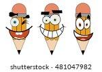 set of cartoon pencils... | Shutterstock .eps vector #481047982
