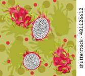 repeating pattern dragon fruit. ... | Shutterstock .eps vector #481126612