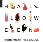 halloween lettering card.... | Shutterstock .eps vector #481127056