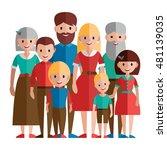 big happy family vector... | Shutterstock .eps vector #481139035