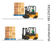 forklift truck with containers... | Shutterstock .eps vector #481154266