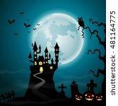 halloween background with... | Shutterstock .eps vector #481164775