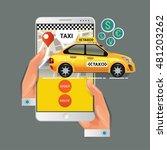 vector illustration of a taxi... | Shutterstock .eps vector #481203262