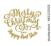 merry christmas gold glittering ... | Shutterstock .eps vector #481215325