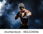 muscular kick box or muay thai... | Shutterstock . vector #481224046