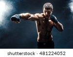 muscular kick box or muay thai... | Shutterstock . vector #481224052