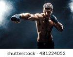 muscular kick box or muay thai... | Shutterstock . vector #481224052