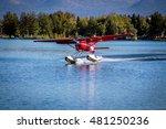seaplane take off from lake... | Shutterstock . vector #481250236