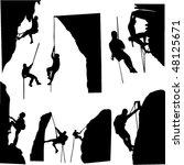 Rock Climbers Silhouette...