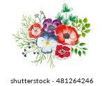 bouquet of flowers and leaves... | Shutterstock . vector #481264246