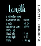 length. hand written formula of ... | Shutterstock .eps vector #481273945