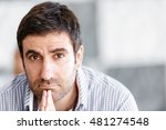 male office worker sitting at... | Shutterstock . vector #481274548