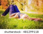 young woman resting on the... | Shutterstock . vector #481299118