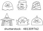 outlined halloween character... | Shutterstock .eps vector #481309762