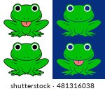 green cartoon frogs over white... | Shutterstock . vector #481316038