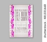 romantic pink peony bouquet... | Shutterstock .eps vector #481331668