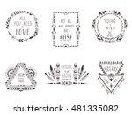 hand drawn boho style frames... | Shutterstock .eps vector #481335082