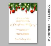 christmas party invitation with ... | Shutterstock .eps vector #481338802