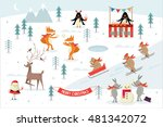 christmas  winter scene vector... | Shutterstock .eps vector #481342072