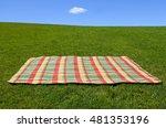 an empty picnic blanket on... | Shutterstock . vector #481353196