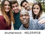 multiracial group of friends... | Shutterstock . vector #481354918