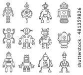 set of cute cartoon funny retro ... | Shutterstock .eps vector #481359826