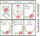 cute vintage  floral elements... | Shutterstock . vector #481363582