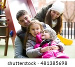 portrait attractive family with ... | Shutterstock . vector #481385698