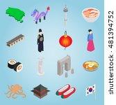 isometric south korea icons set....
