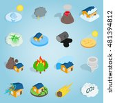 natural disaster icons set.... | Shutterstock .eps vector #481394812