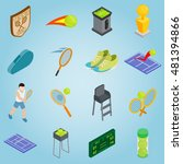 isometric tennis icons set....