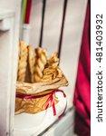 tasty breadsticks in paper... | Shutterstock . vector #481403932