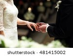 put a wedding ring to bride on...   Shutterstock . vector #481415002