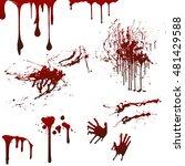 happy halloween set with blood  ... | Shutterstock .eps vector #481429588