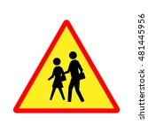 school sign. yellow and red... | Shutterstock .eps vector #481445956