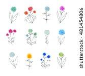 floral decorative set. colorful ... | Shutterstock . vector #481454806