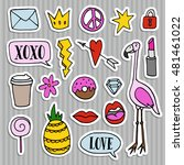 set of fashion patches  badges  ...   Shutterstock .eps vector #481461022