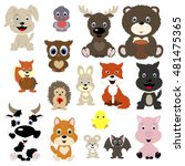 collection of cute animals in... | Shutterstock .eps vector #481475365