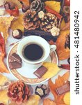 autumn cup of black coffee ... | Shutterstock . vector #481480942