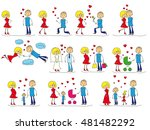 love story set of young men and ... | Shutterstock . vector #481482292