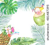 watercolor tropical  frame with ... | Shutterstock . vector #481487395