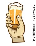 hand hold a glass of beer | Shutterstock .eps vector #481494262