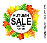 autumn sale banner with... | Shutterstock .eps vector #481494595