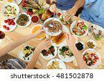friends passing plate with... | Shutterstock . vector #481502878