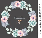 a circle frame  wreath with... | Shutterstock . vector #481507216